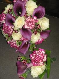 Bruidsboeket & corsage paars