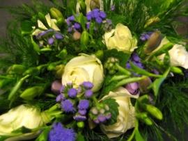 Bruidsboeket paars/wit