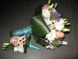 Bruidsboeket & Corsage rose/blauw
