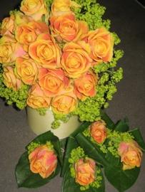 Bruidsboeket & corsage's  zalm/oranje