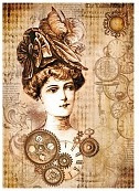 Stamperia - Steampunk woman with hat