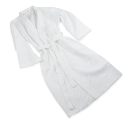 Bathrobe, Waffle, White, Size S, Kimono Design