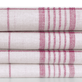 Polishing Cloth, White and Red Striping, 70x70cm, 50/50 Linen / Cotton, Treb Towels