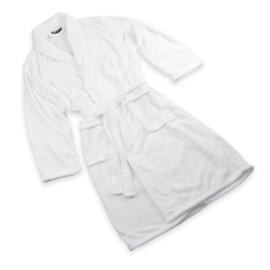 Bathrobe, Fleece, White, Size: M/XL