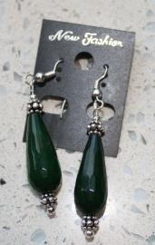 donker groene jade met zilver