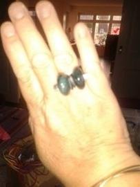 blauwe vuuragaat ring (chunky)