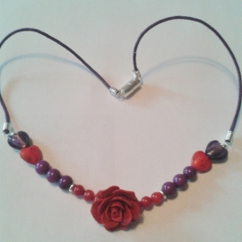 Rode roos met paars