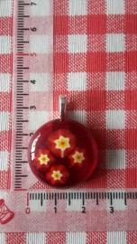 Ronde rode hanger met bloemen (groot)