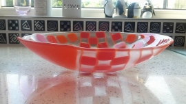Orange/Red bowl with squares