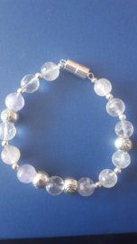 Lichte amethyst/rozenkwarts en bergkristal
