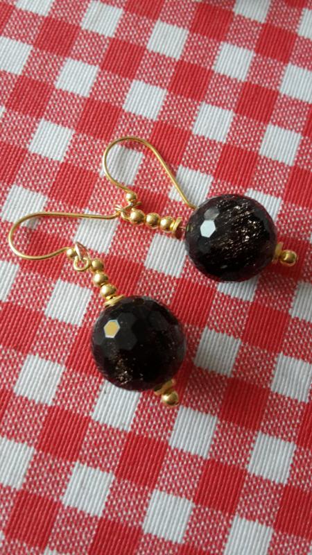 Goldstone oorbellen
