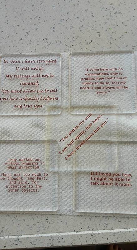 Set onderzetters met Jane Austen quotes