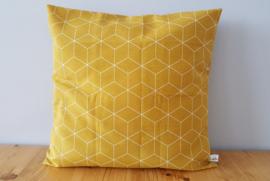 Kussenhoes oker hexagon 40x40