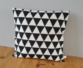Kussenhoes zwart/wit driehoek 40x40