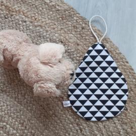 Speendoek oker zwart/wit driehoek