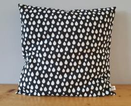 Kussenhoes zwart/wit druppel 40x40