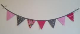 Mini vlaggetjes roze/grijs/pipstudio