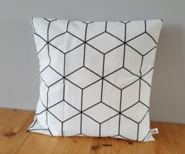 Kussenhoes hexagonmotief brede lijn wit 40x40