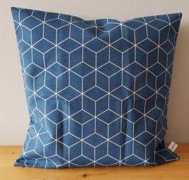 Kussenhoes donkerblauw hexagon 40x40
