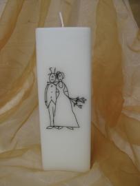 Huwelijkskaars getekend bruidspaar vierkant