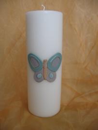 Vlinderkaars cilinder blauw