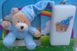 Geboortekaars Beertje blauw & knuffel  in geschenkdoos