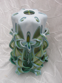 Gesneden kaars met strik Groen XL