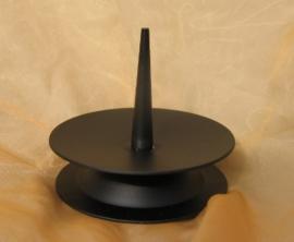 Kandelaar S zwart metaal , grote pin