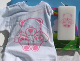 Geboortekaars Beertje roze & T-shirt in geschenkdoos