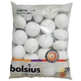 Drijfkaarsen wit Bolsius 20 st.