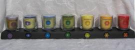 Sfeerlichtset chakra geurkaarsen met glaasjes
