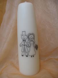 Huwelijkskaars getekend bruidspaar