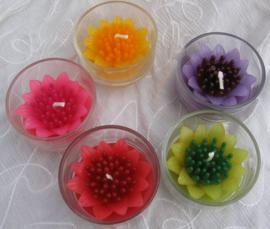 Bloemkaars in glas M geur