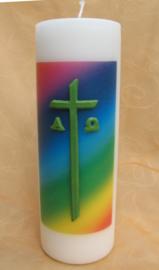 Cilinderkaars Regenboog met kruis