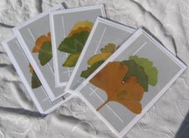 Rouwkaarten met Ginko blad grijs