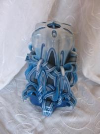 Gesneden kaars met strik blauw XL