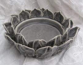 Kaarsen onderzetter Lotus grijs