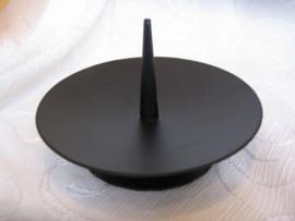 Kandelaar L zwart metaal, grote pin
