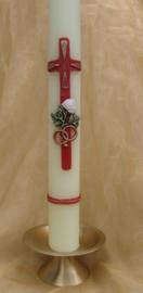 Trouwkaars Kruis met ringen en roosje