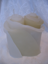 Bloemenkaars duo s 16 cm div kleuren