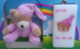 Geboortekaars Beertje roze  & knuffel in geschenkdoos
