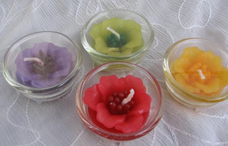 Bloemkaars in glas S geur