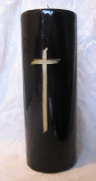 Gedenkkaars zwart kruis goud