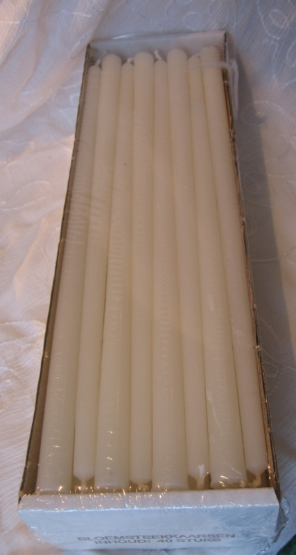 Bloemsteekkaars ivoor 31 cm