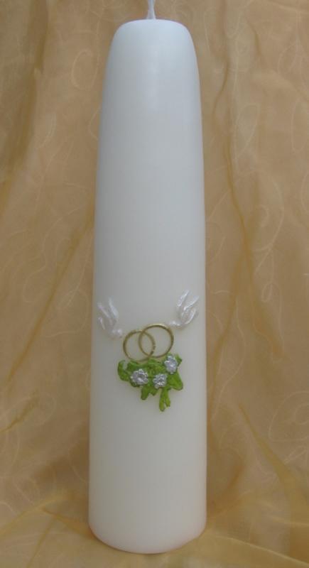 Huwelijkskaars Duifjes, ringen en bloemen