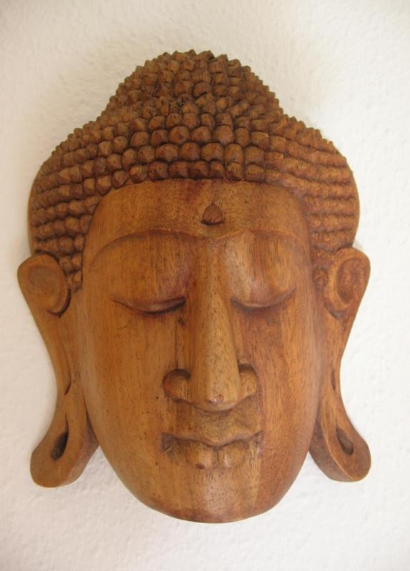 Boeddahoofd hout 24cm