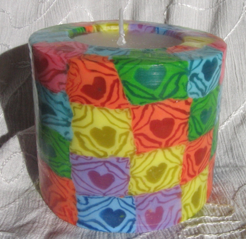 Hartjes regenboog Swazi Candle