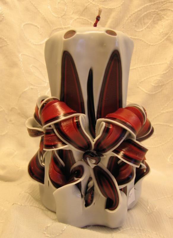 Gesneden kaars Rode bloem XL