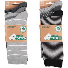 Art. 58061001 Mode sokken Bio Cotton  Multi Grey 6-pack