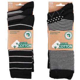 Art. 58061001 Mode sokken Bio Cotton  Multi Black 6-pack